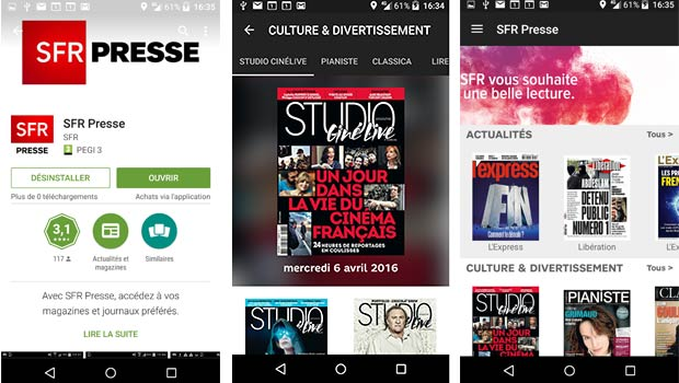 SFR Presse, l'application